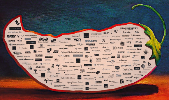 WPP companies and associates on top of a painted chilli